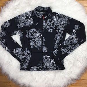 Lululemon Floral Zip Up Jacket Black White 10